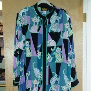 Bob Mackie 100% Silk Tunic Top 3x Cats Kittens